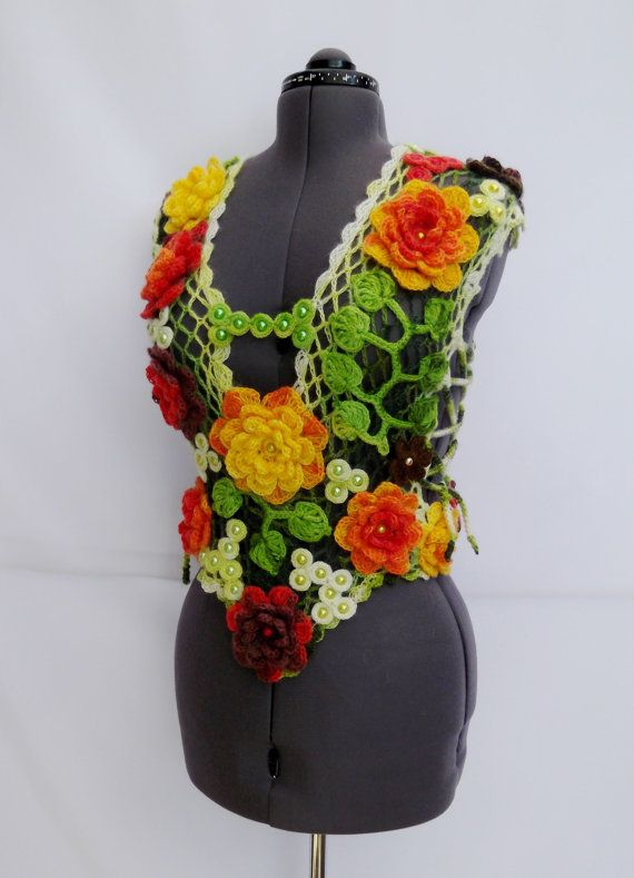 Knitted (crochet) Warm Vest Waistcoat Bright Red Rose Yellow White Orange Flowers and Green Leaves - Free Shipping ETSY on Etsy, $298.00