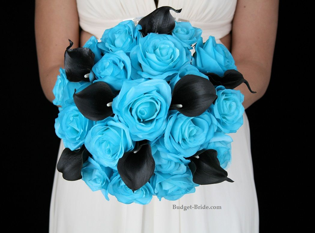 Turquoise And Black Wedding Bouquet Packages Only $150