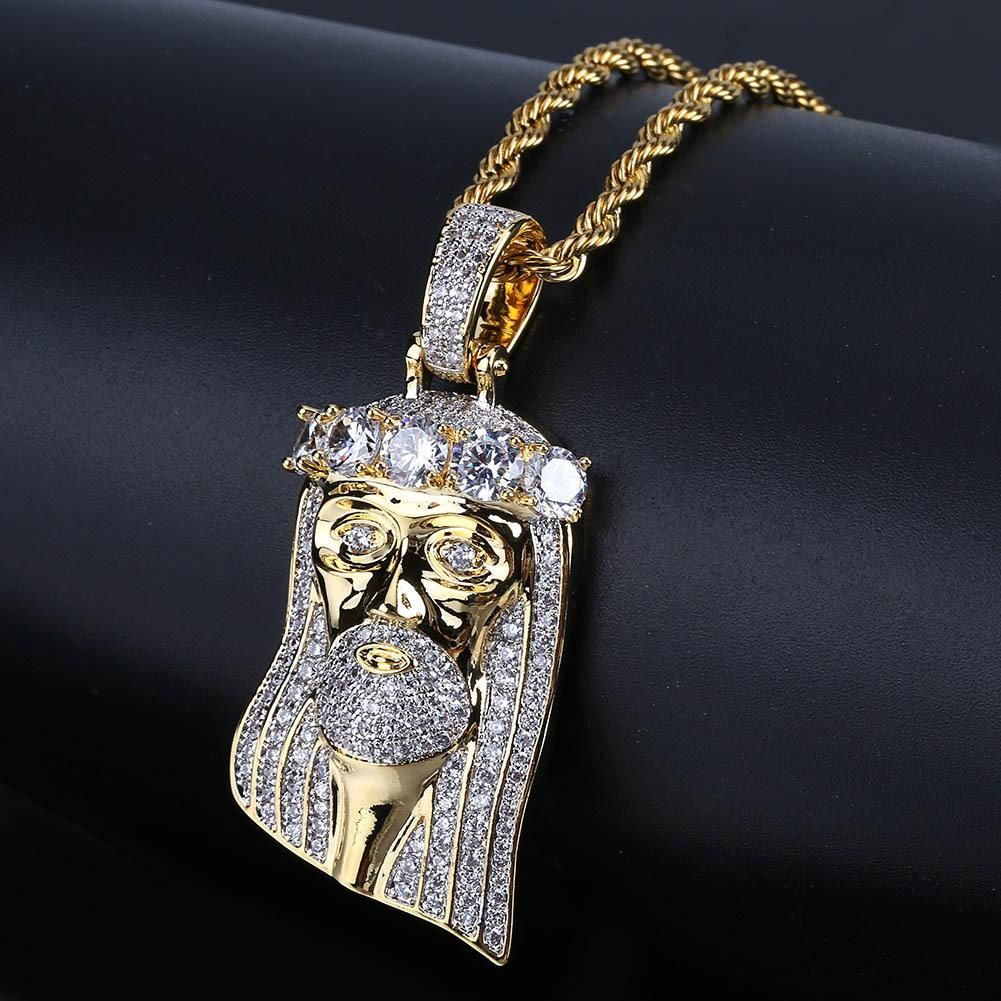 Vintage Jesus Crown My Big Zircon Pendant Necklace Jewelry Micro