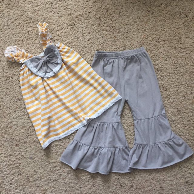 Check out this listing on Kidizen: Yellow & Grey Boutique Outfit via @kidizen #shopkidizen