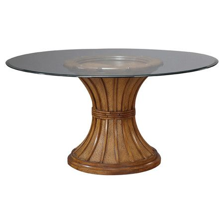 Pedestal Dining Table With Woven Rattan And Faux Bamboo Accents