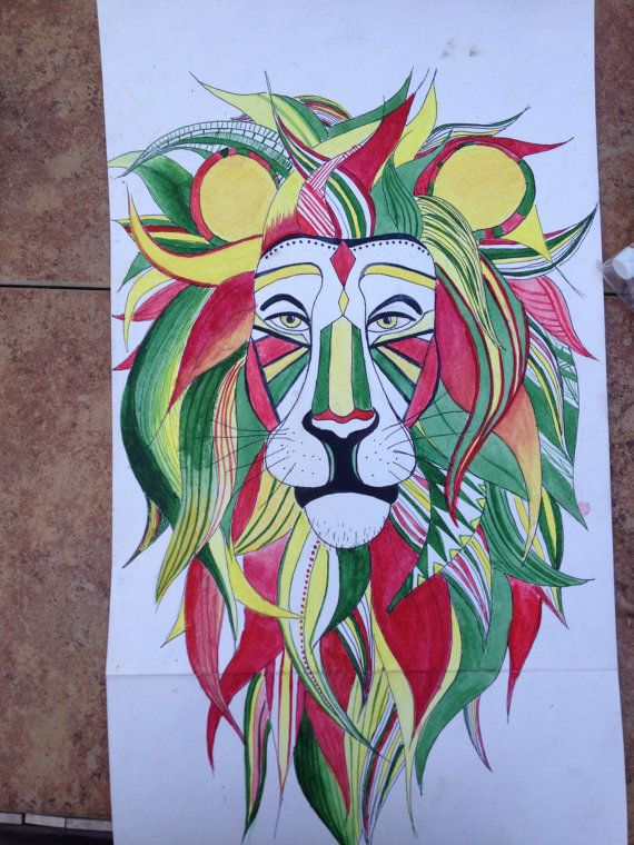 Watercolor Painting of a Rastafarian Lion by ...