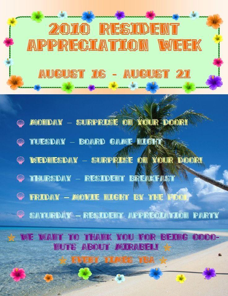 Resident Appreciate Week Extravaganza! Apartment event ideas ...