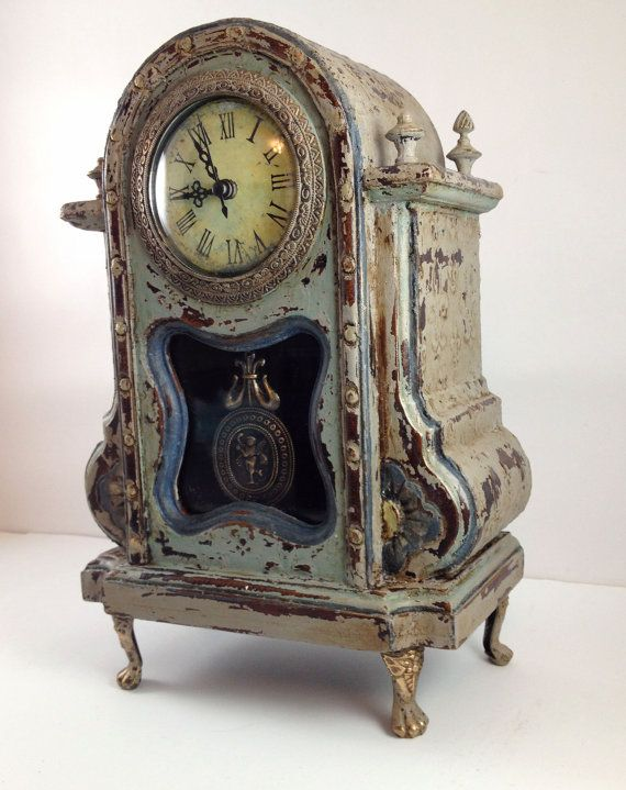 Downton Abbey Inspired Chalk Painted Mantel Clock Mantel Clocks Chalk Paint And Mantels