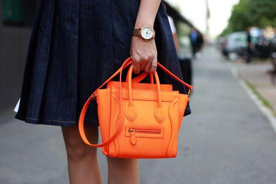 Celine Orange Luggage Handbag Mini 20cm