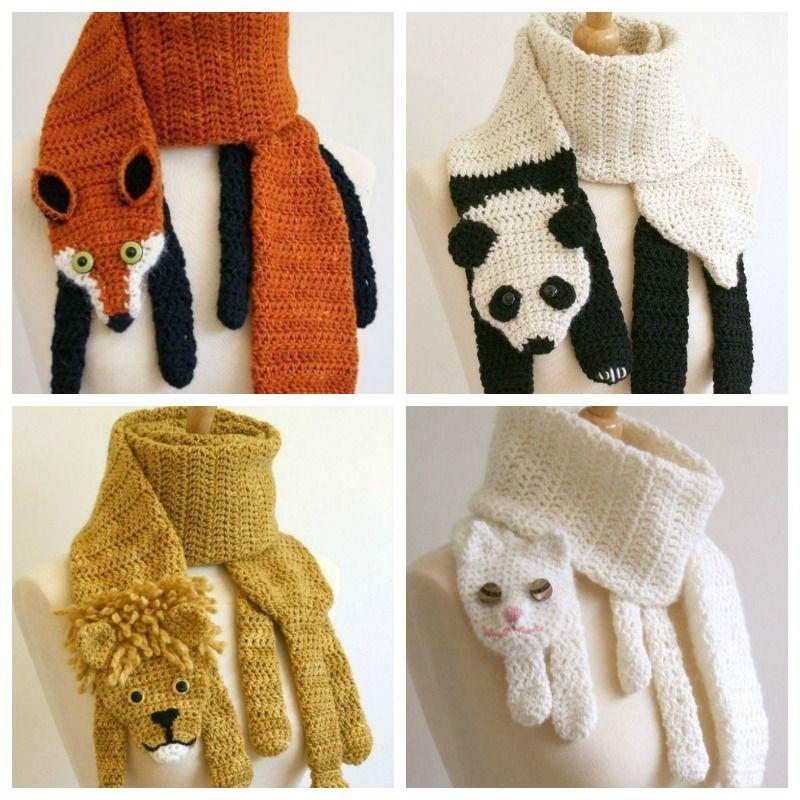 Ideas de bufanda de animales a crochet …  415fb70a6c4