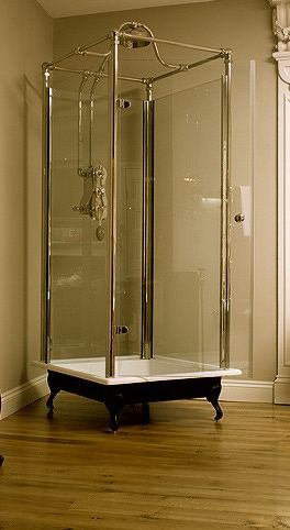shower on a pedestal! such a cool idea