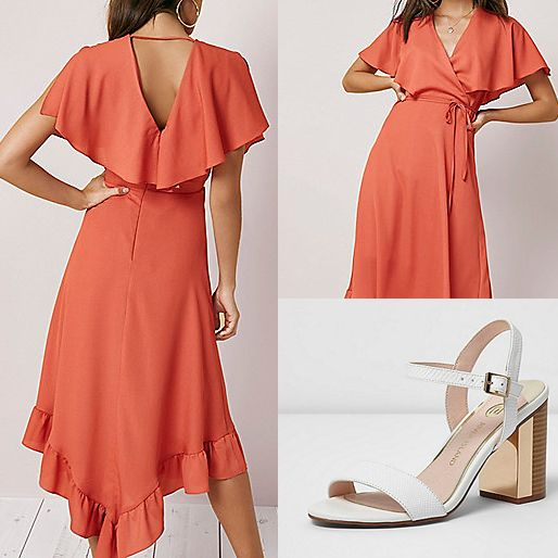Be Our Colourful Wedding Guest Summer Wedding Guest Style At River Island Uk Flamenco Orange Dress Wi Jumpsuit For Wedding Guest Womens Dresses Dresses