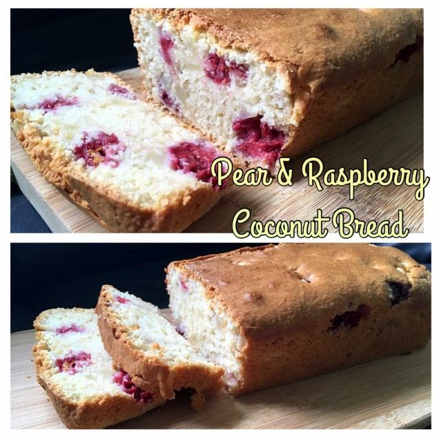 Baked this Pear, Coconut and Raspberry Loaf.