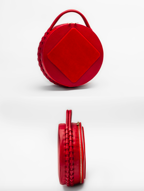 Intricate design. Red hand clutch.