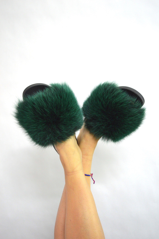 real fur slides emerald fox rubber fur slippon fur flip flop