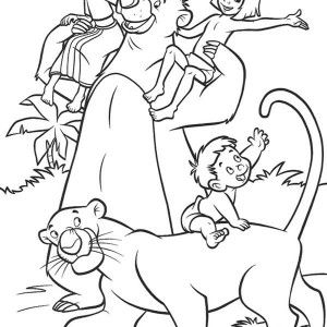 mowgli climb a tree and bagheera sleeping in the jungle book coloring page kids play - Color Drawing Book