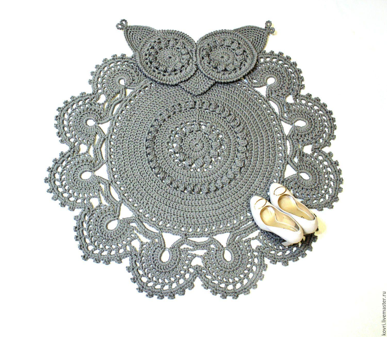 купить вязаный коврик сова серый коврик сова серый цвет коврик
