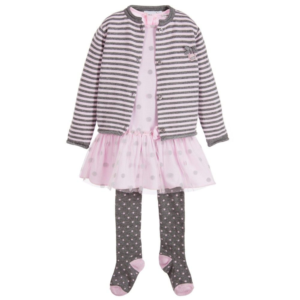 3Pommes Baby Girls Pink Tulle 4 Piece Dress Set  at Childrensalon.com