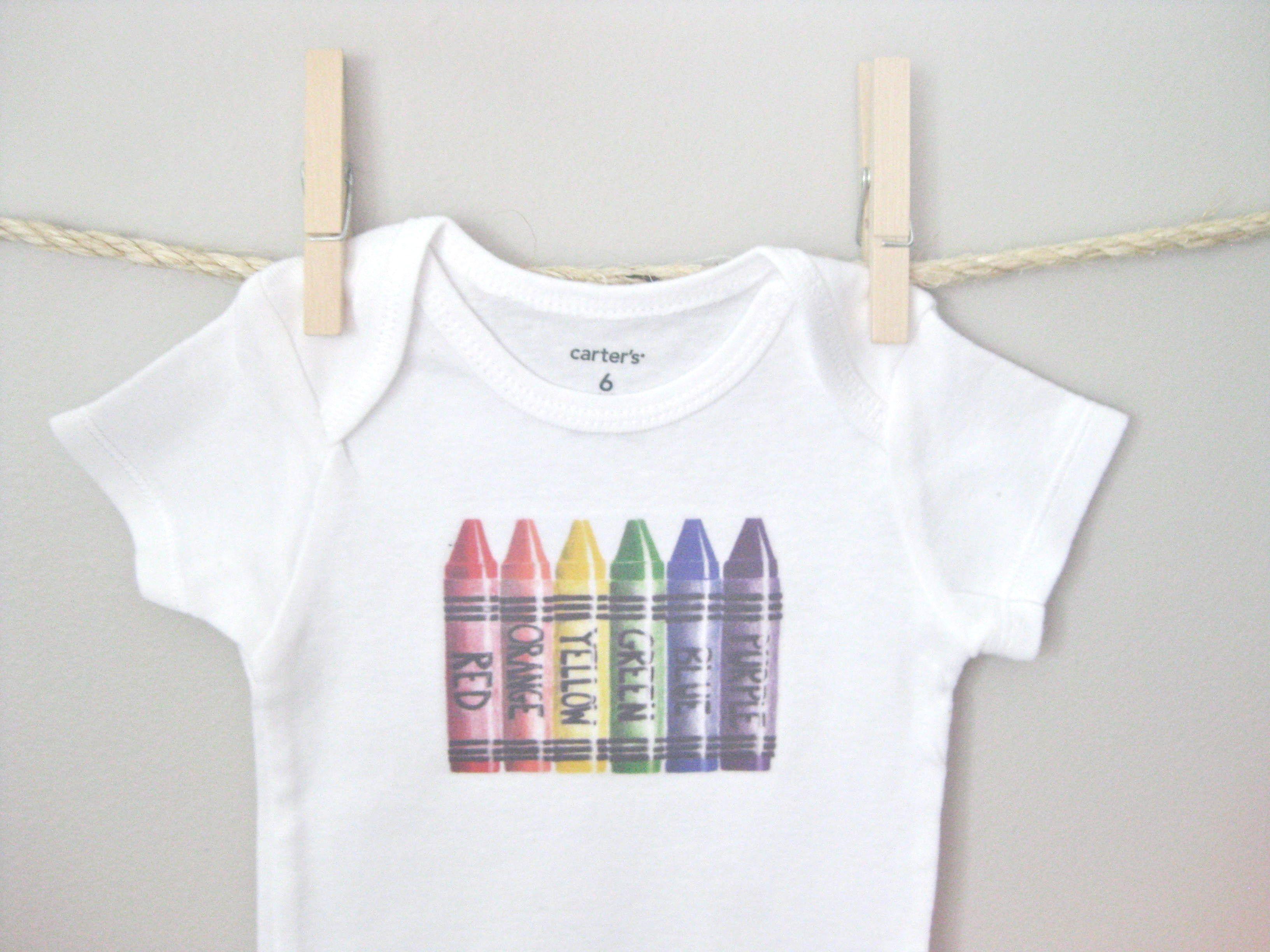 Crayon Shirt, Boys Bodysuit, Gender Neutral Baby, Girls Bodysuit, Gender Neutral Clothes, New Baby, Short or Long Sleeve, You Choose Size