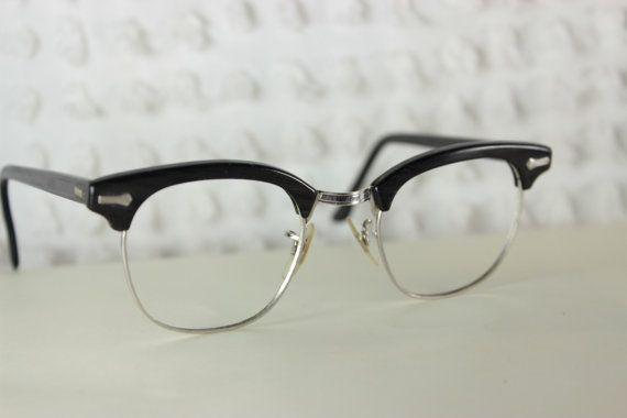 7f23efb1a49 60s Mens Glasses 1960 s Browline Eyeglasses Black Gray Woodgrain ...