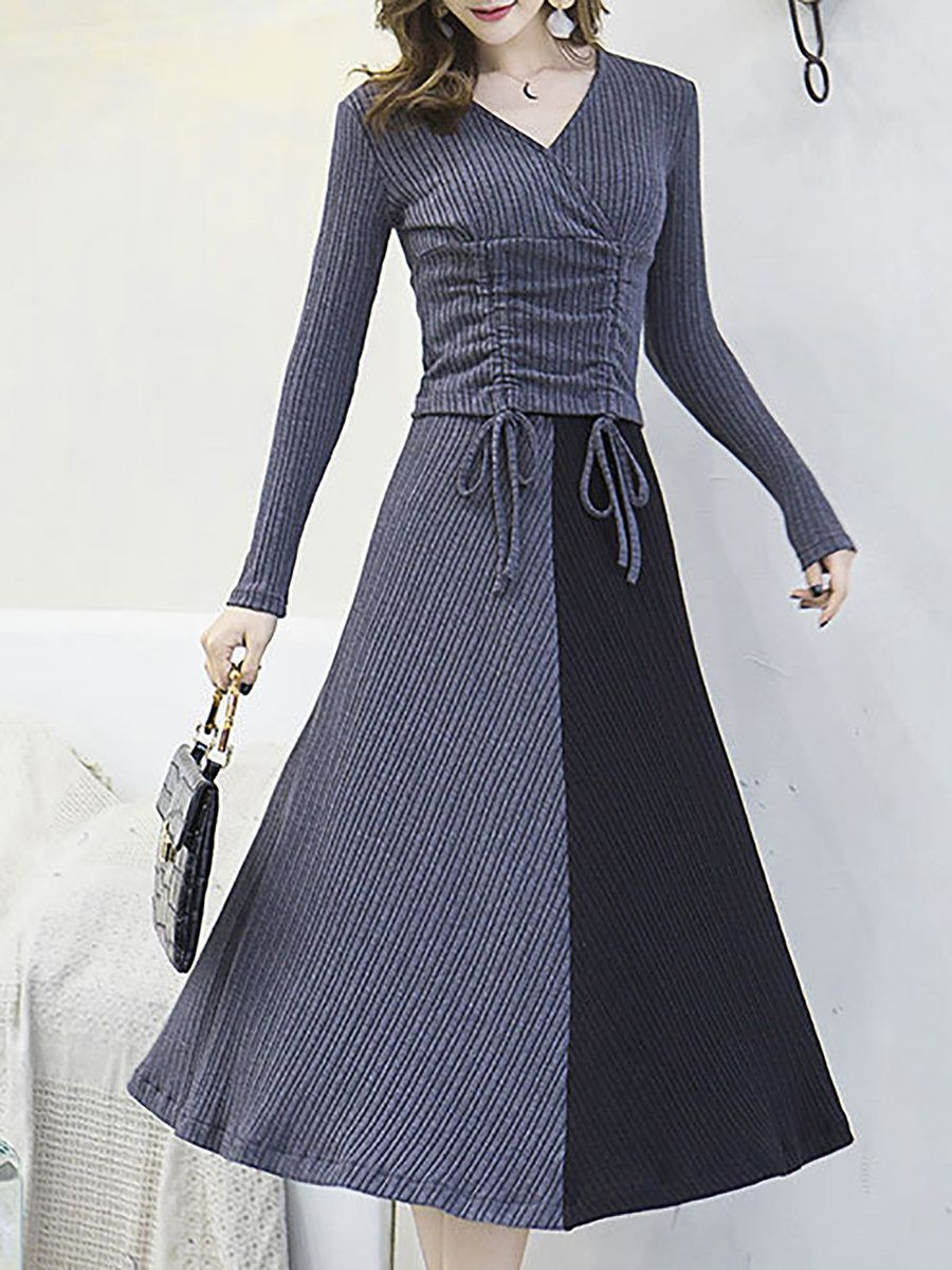 dec1fe7a62d1 Stylewe Elegant Two-Piece Set For Women Gray Red Royal Blue Black  Color-Block Draped Outfits