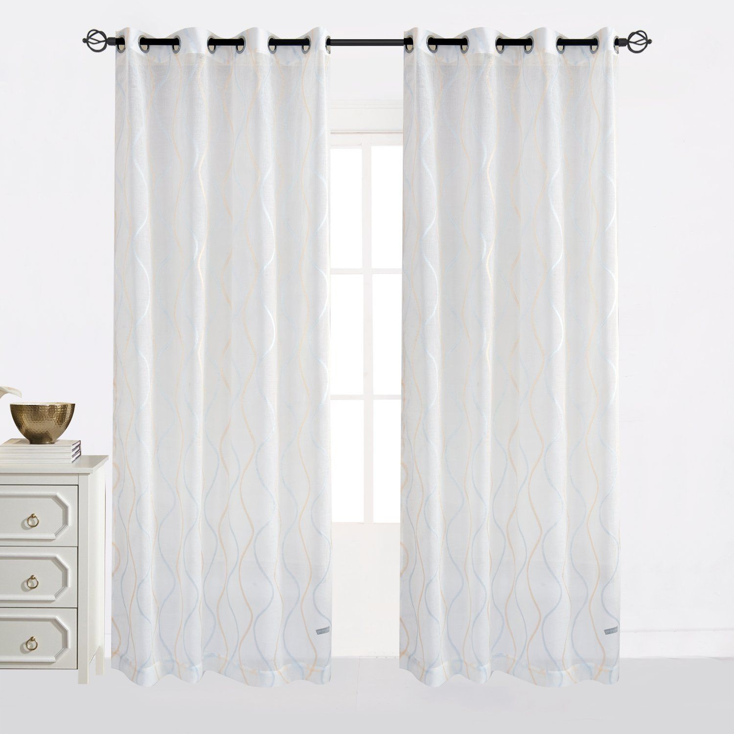 attractive 52 Inch Length Curtains Part - 12: Cheery Home Wave Sheer Curtains Voile Panels Drapes Top Grommet for Living  Room,Width 52 Inch By 84 Inch Length,Blue and Gold u003eu003eu003e Click image for more  ...