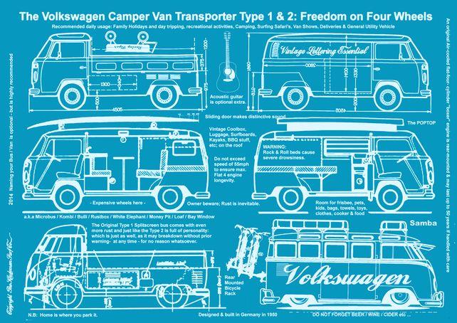 Volkswagen campervan surf bus type 1 type 2 blueprint poster volkswagen campervan surf bus type 1 type 2 blueprint poster print a1 malvernweather Choice Image