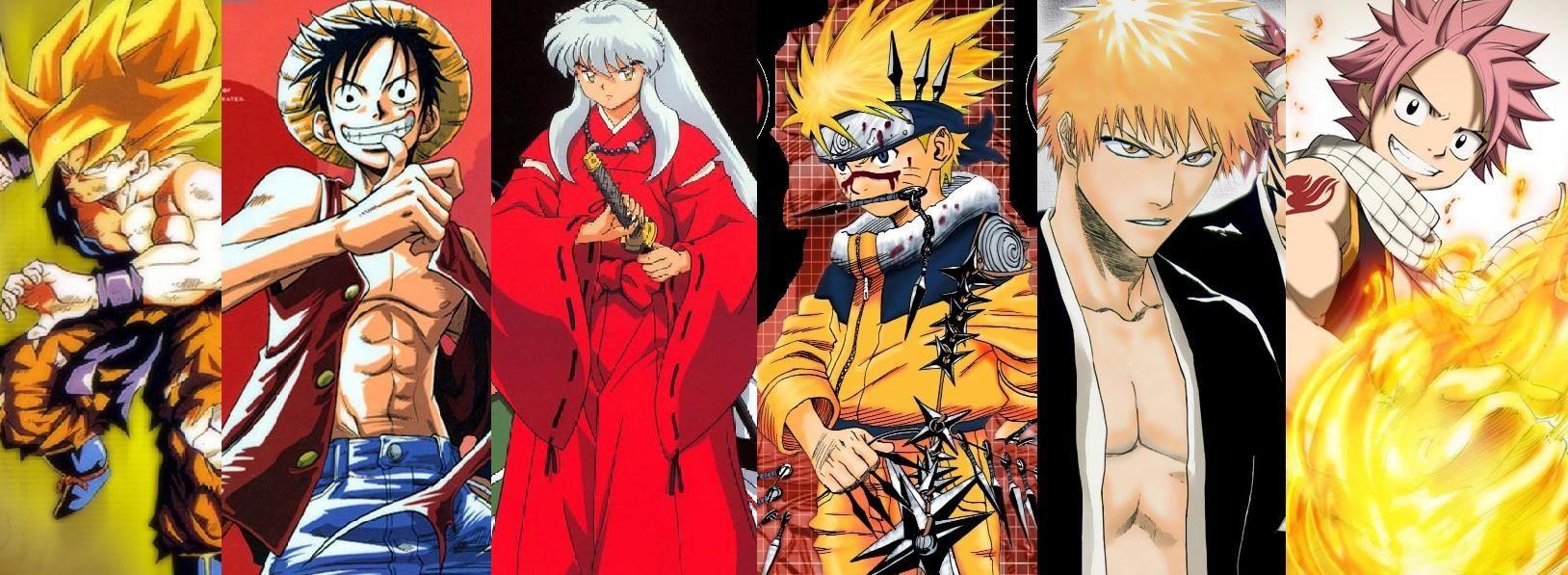 Goku Ichigo Naruto Luffy Natsu Google Search Anime Anime Crossover Bleach Anime Ichigo
