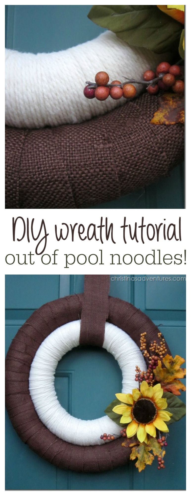 DIY Double Fall Wreaths #poolnoodlewreath Budget friendly and adorable wreath - made out of pool noodles!  Great DIY tutorial! #poolnoodlewreath