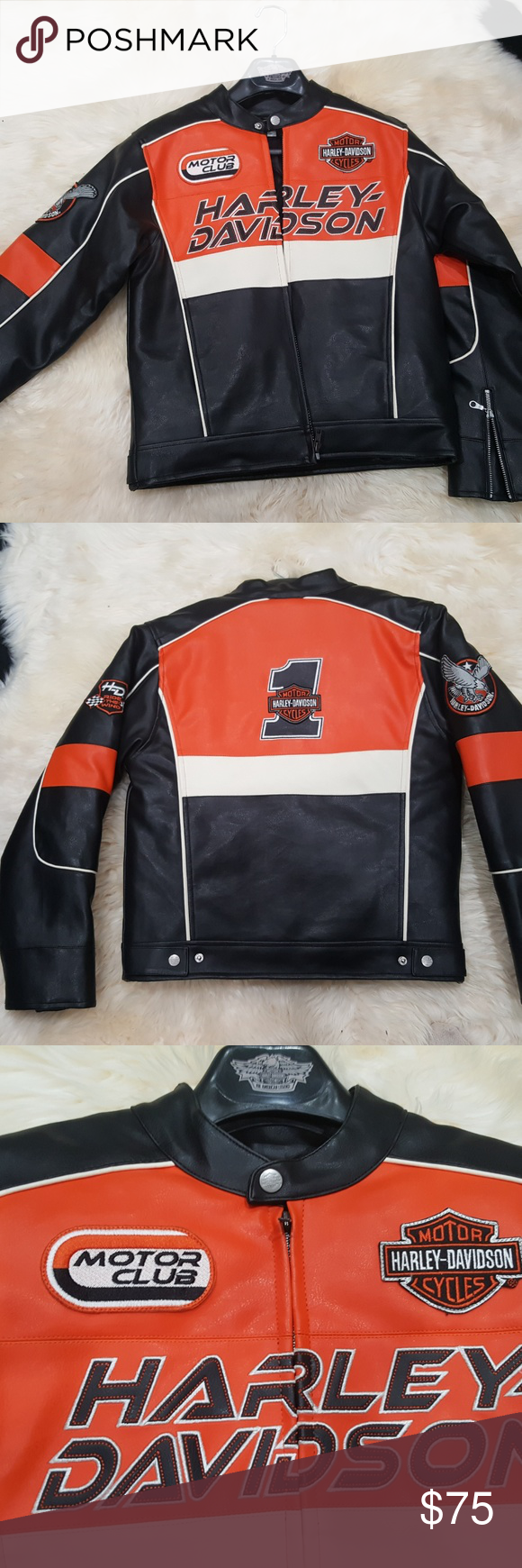 Harley Davidson Leather Jacket Kids Size M 12 14 Harley Davidson Leather Jackets Kids Jacket Jackets [ 1740 x 580 Pixel ]