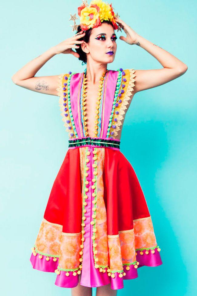 L.O.M. Louise O'Mahony fashion design Brighton Folklorico, Frida Kahlo tassels fringe pom pons Mexican Asian European Folklore