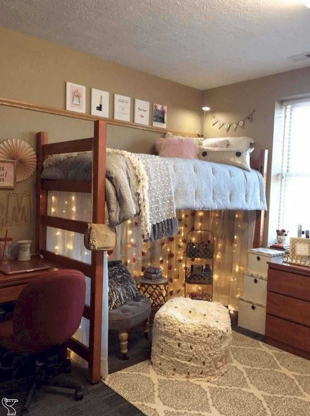 65 Cute Dorm Room Decorating Ideas On A Budget Dorm Rooms Are Small By Nature And The Limited Space Mak Dorm Room Designs College Bedroom Decor Cool Dorm Rooms