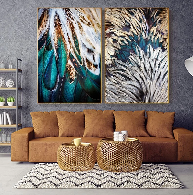 Abstract Feathers Wall Art Fine Art Canvas Prints Luxury Pictures For Living Room Bedroom Modern Fashionable Glam Home Interior Decor Feather Wall Art Canvas Art Wall Decor Unique Wall Art