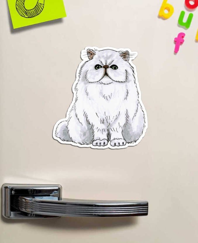 Persian cat Magnet by @savousepate on Redbubble #findyourthing #magnet #persiancat #angoracat #whitecat #cat #catlover #catlovers