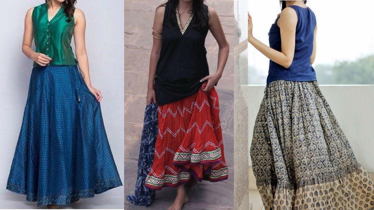 3d03092c Long ethnic skirts with short kurtis and ideas | long skirt with short k.