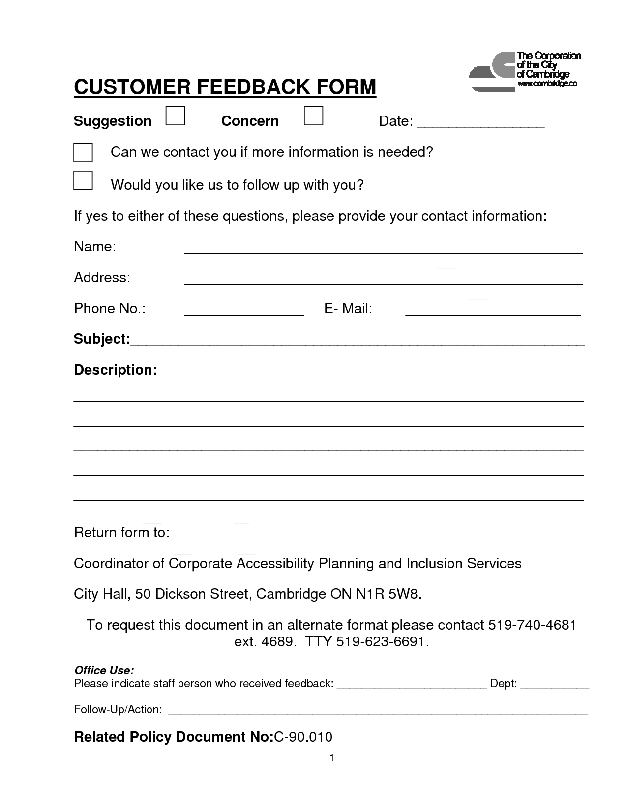 Customer Contact Form CUSTOMER FEEDBACK FORM PDF download Was