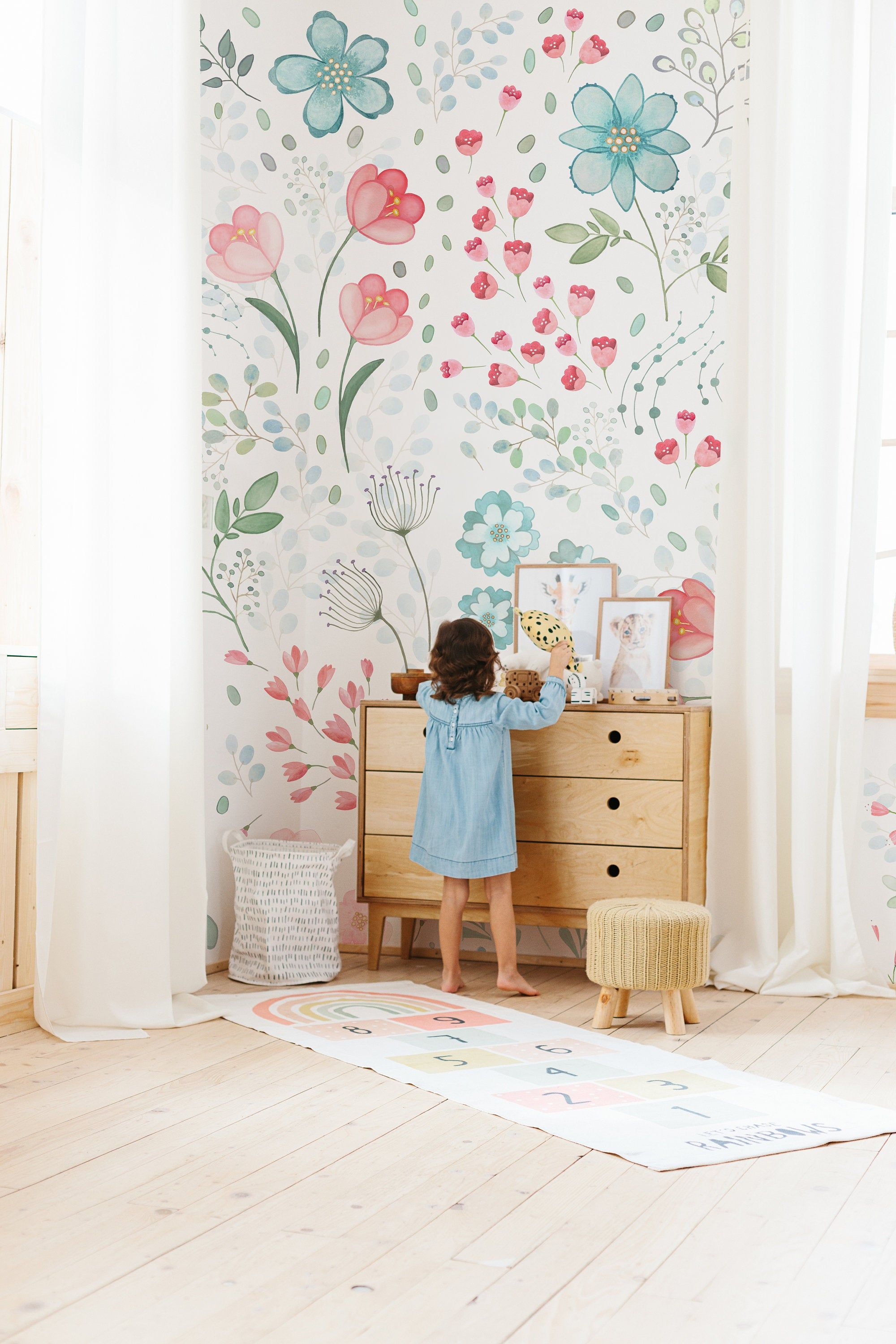 Whimsy Floral Mural Traditional Or Removable Wallpaper Etsy Removable Wallpaper Girl Room Mural