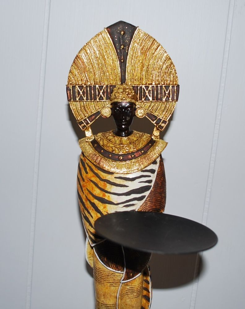 Warrior candle holder metal votive taper pillar egyptian figurine