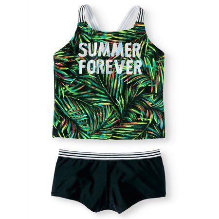 9827193f764 Plus Size Summer Forever Palm Print Tankini Swimsuit (Little Girls