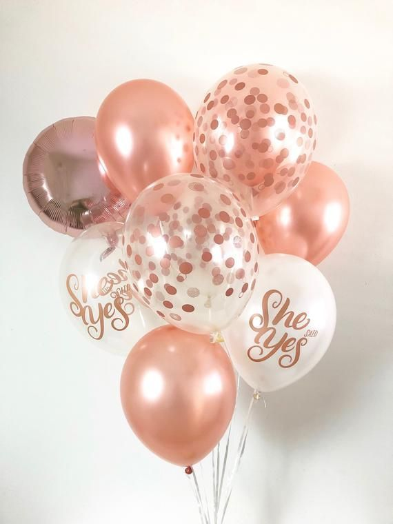 Rose Gold Confetti Look Balloons She Said Yes Balloons Rose Gold Balloons Rose Gold Bridal Shower Rose Gold Bachelorette She Said Yes Shower