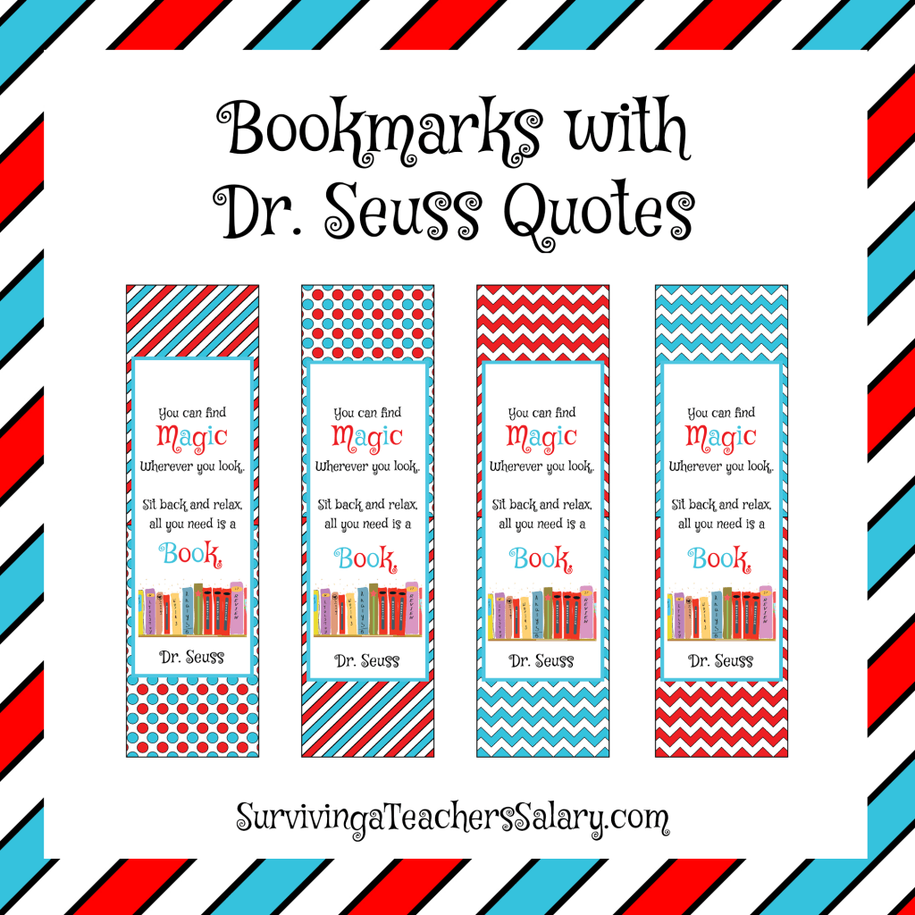 Dr Seuss Printable Bookmarks To Color