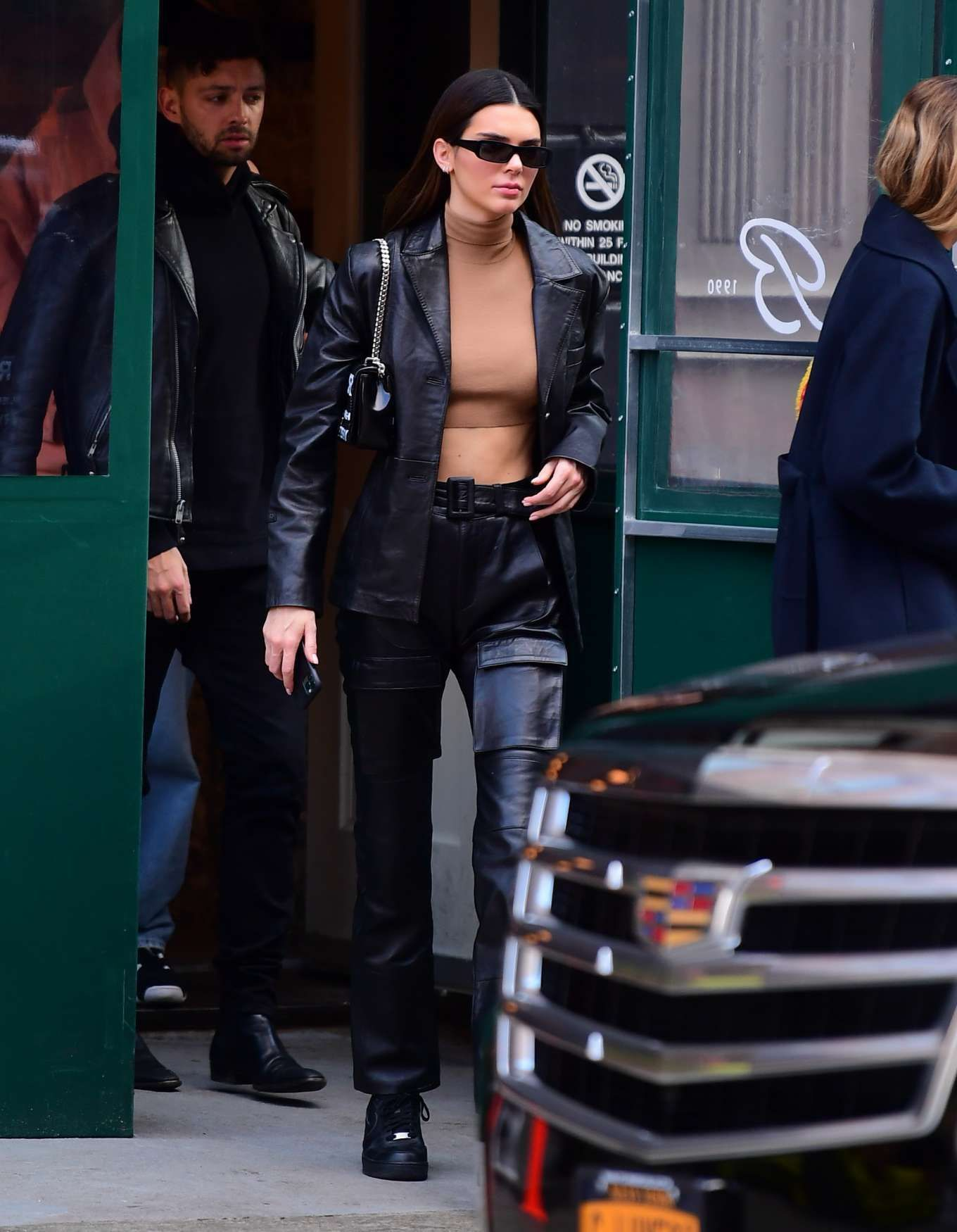 Kendall Jenner Black Leather Boots Street Style Autumn Winter 2020 on SASSY DAILY