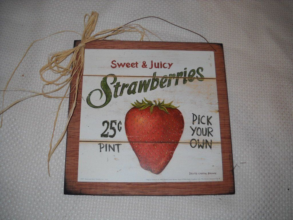 Sweet and juicy strawberries pick your own wooden kitchen wall art