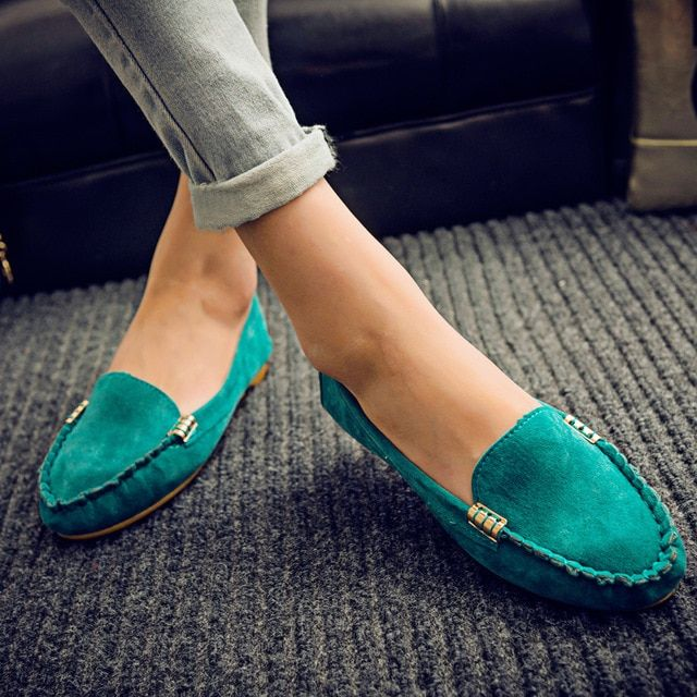 Ngouxm Women Suede Leather Flats Moccasins Slip On Shoes Woman Comfortable Ladies Shoes Zapatos Mujer Candy Color Soft Loafers Color Black Shoe Size 6