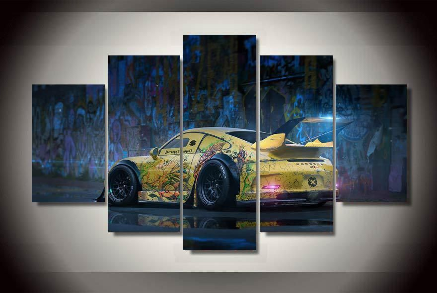Graffiti yellow abstract race car wall art on canvas room decoration ...