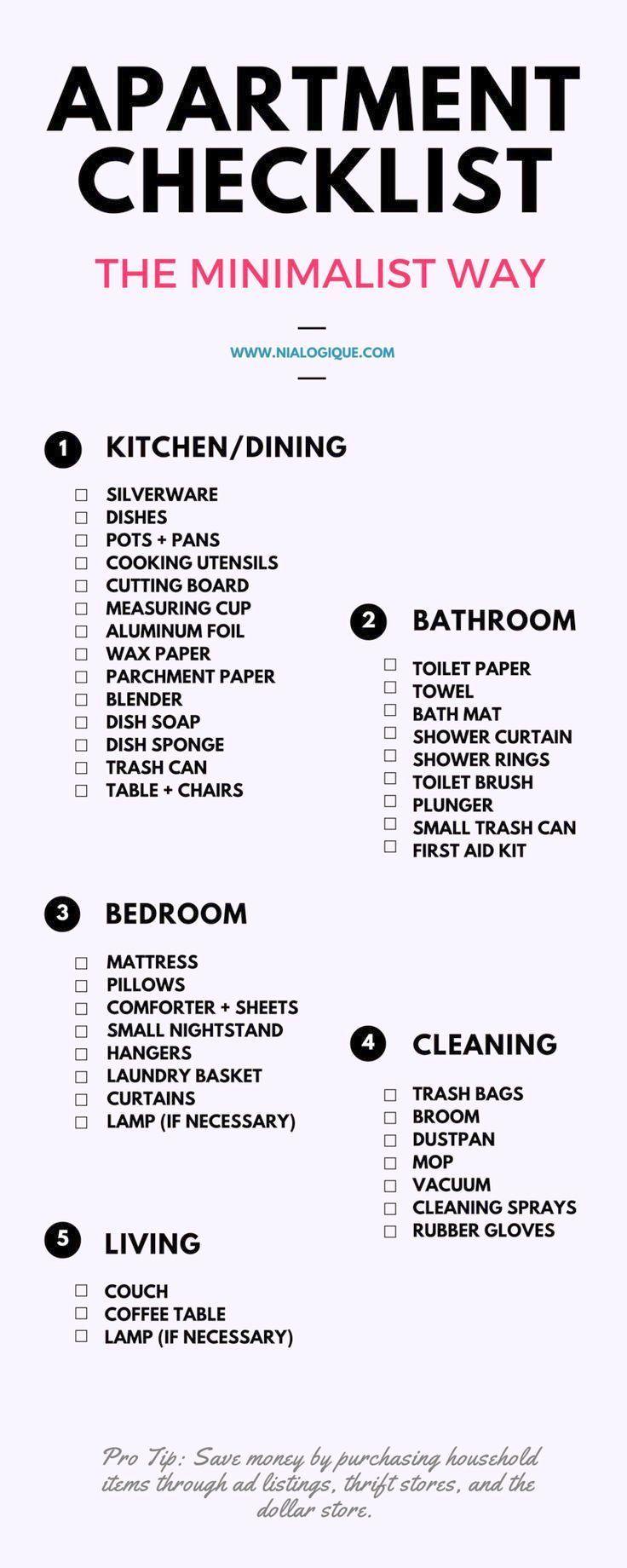Photo of Wonderful Living Room Essentials Liste Minimalist Apartment Checkliste | Auschec…