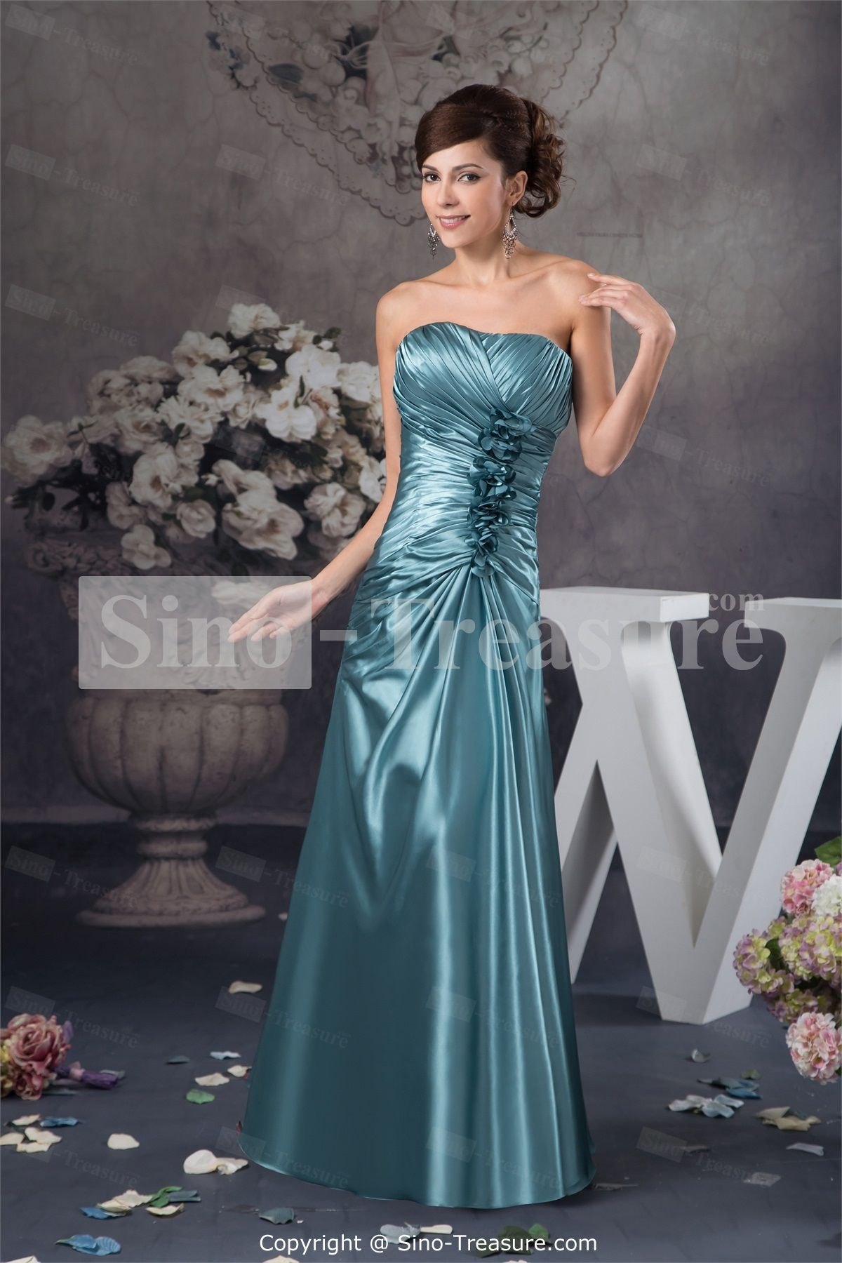 Dark blue wedding dress  Dark Blue Summer FloorLength Silklike Satin Evening Dress Wedding