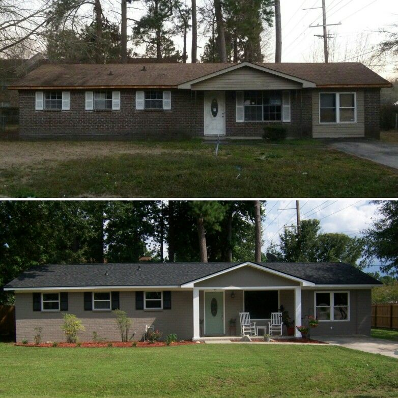 Taupe Exterior House Color Ideas: Brick Ranch Exterior Makeover, Painted Brick, HGTV Sherwin