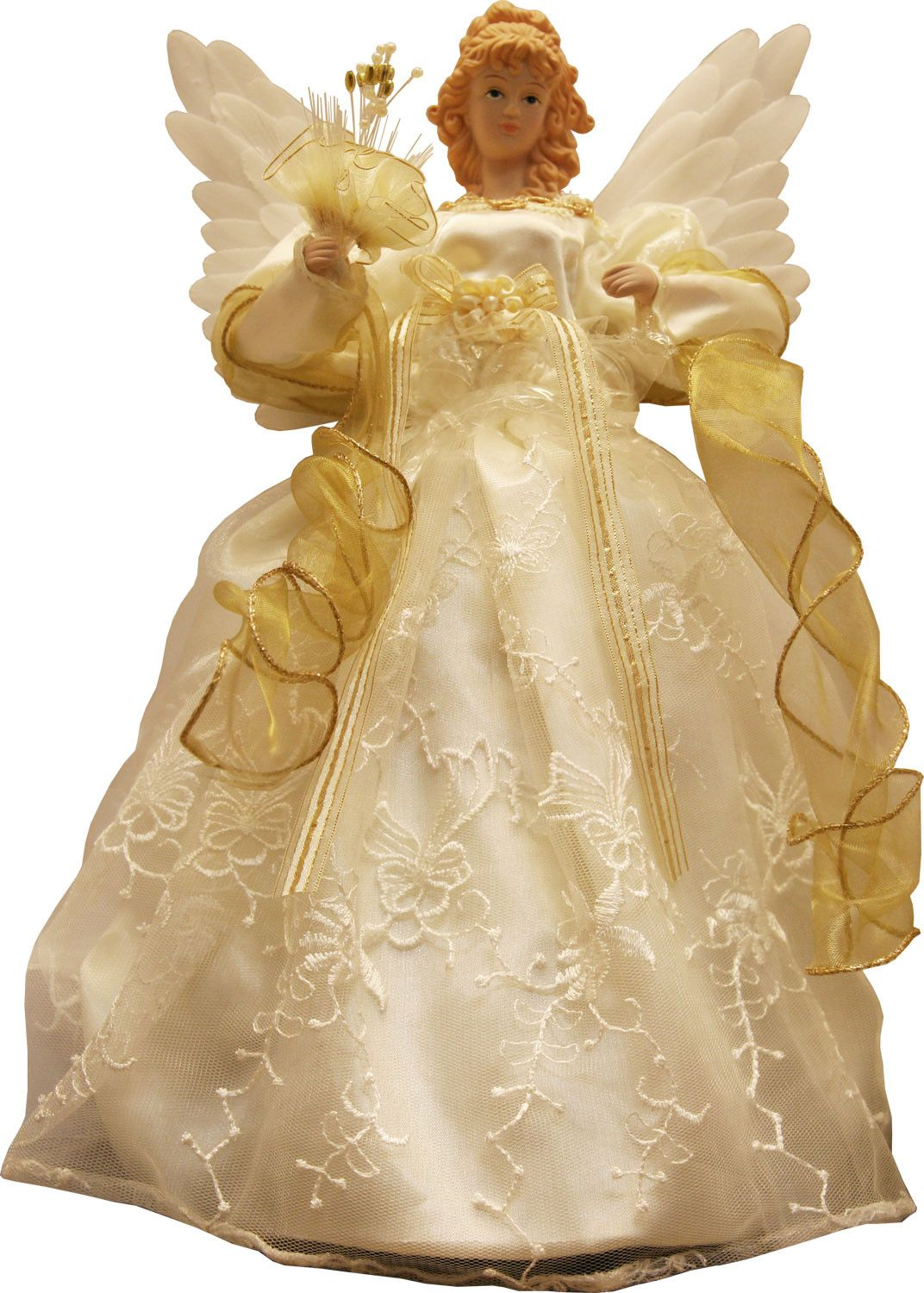 """14"""" Gold and Ivory Animated Fiber Optic Angel Tree Topper"""