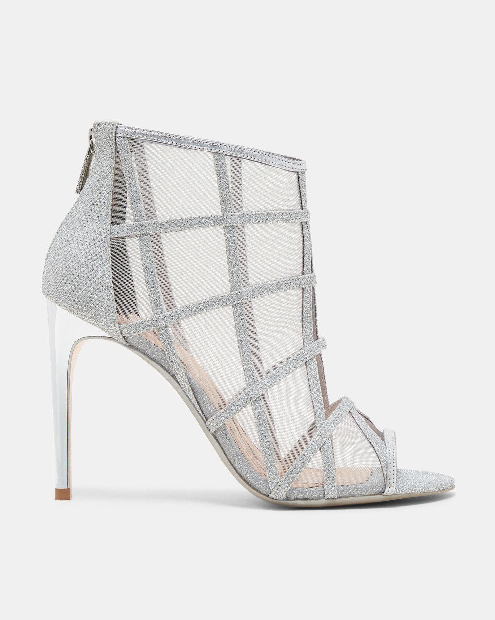 2e82454d553688 Ted Baker Metallic mesh peep-toe boots ZZ-CRYSTAL