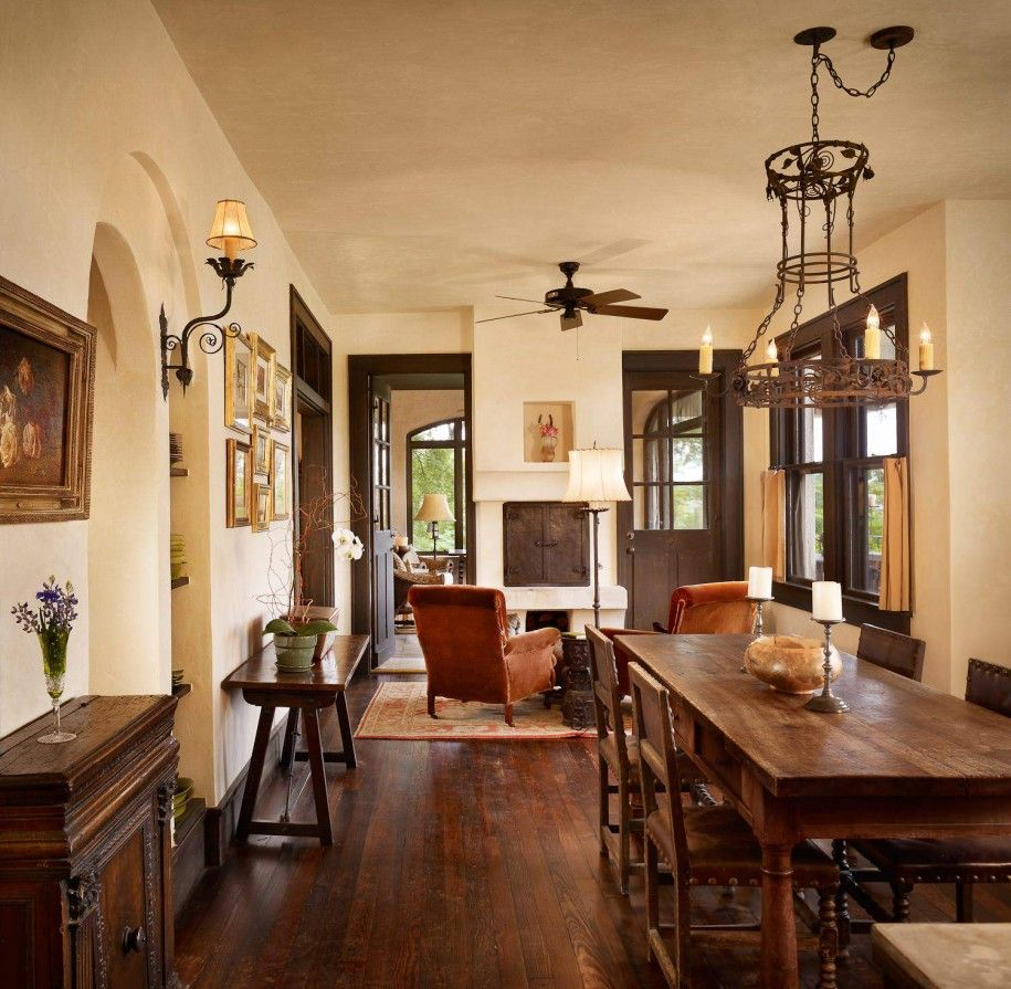 Amusing Rustic Chandeliers Above Dining Table And Dark Wood Chair On Floor