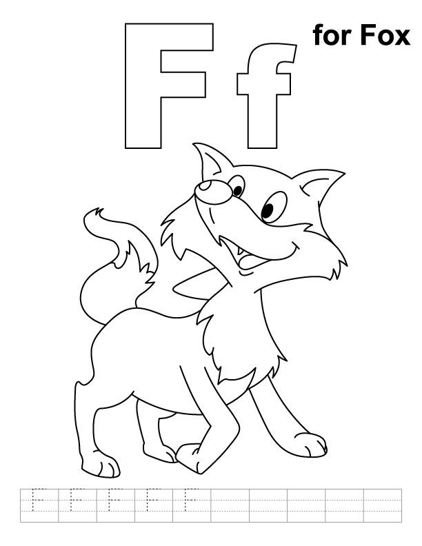 F For Fox Coloring Page With Handwriting Practice Fox Coloring Page