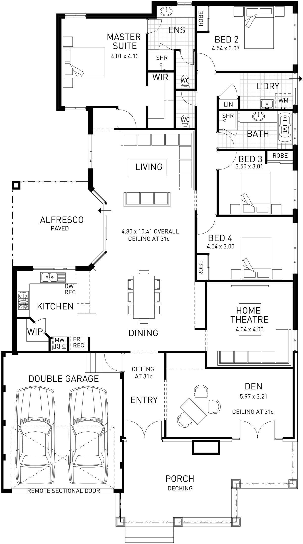 Floor Plan Of Modern House Island Hampton Single Storey Floor Plan Wa Single Floor House Design Modern House Floor Plans Sims House Plans