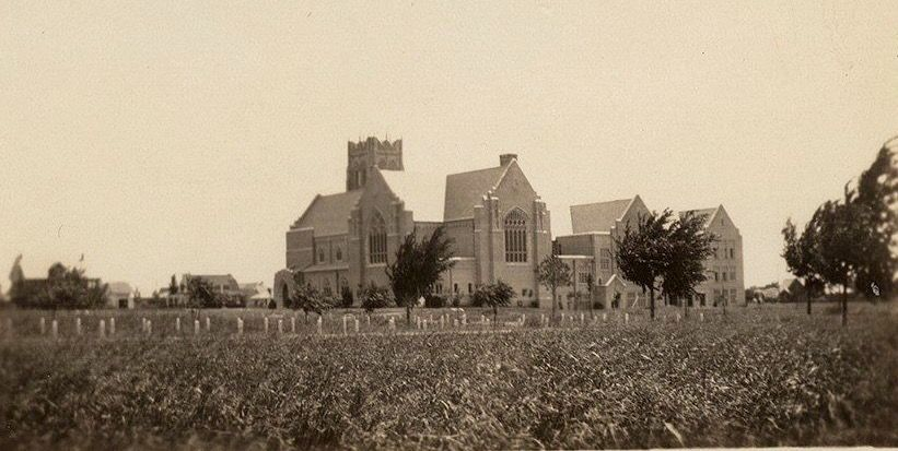 Highland Park Methodist Church in 1927, shortly after it